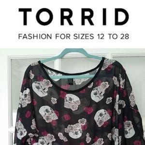 Torrid Silk skull blouse